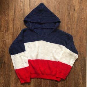 SHEIN Loose Knit Colorblock Hoodie Jumper